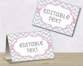 Editable PDF Printable - Grey Chevron and Pink - Label / Sticker / Tent Card / Tags / Place Card - DIY