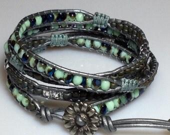 Spring Turquoise leather wrap bracelet
