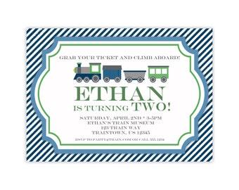 Vintage Train Invitation - Navy Blue Stripe, Retro Green Gray Little Engine Train Personalized Birthday Party Invite - Digital Printable
