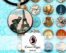 75% OFF SALE Digital Collage Sheet Circle PARIS In Love 1 inch Circles Digital Collage Digital Download