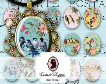 75% OFF SALE Digital Collage Sheet OVAL Enchanted Birds 30x40 mm Digital Collage Vintage Birds Printable Pendants Magnets Instant Download
