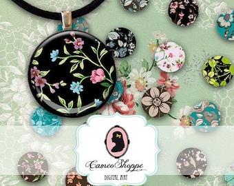 75% OFF SALE Digital collage Sheet Circle FLOWER Delight 20 mm Circles Digital Collage Sheet ...