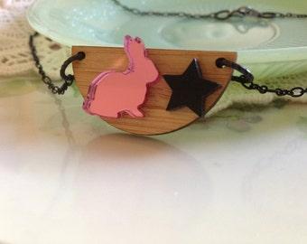 Pink and black punk bunny neckace