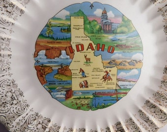 Idaho - Souvenir Plate -  Circa 1950s Ornate Gold Trim Historic Plate - Shabby Chic