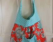Handmade Slouchy Carry All Shoulder Bag with matching Wallet/Wristlet  Red Teal Floral polka dots
