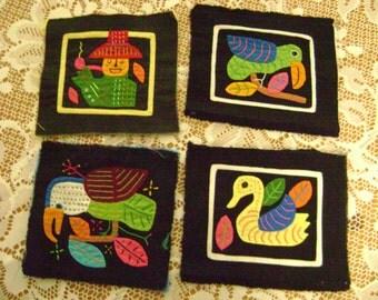 LAST SET of Vintage Kuna Indian Mola Art, Handmade applique set of 4