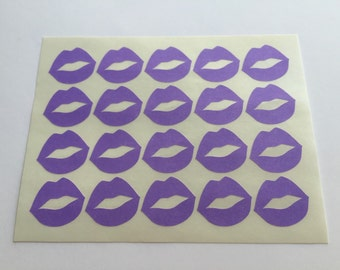20 Purple Lips Stickers - Purple Lip Stickers / Kiss Envelope Seals / Bridal Shower Stickers / Wedding Invititation Seals / Bachelorette