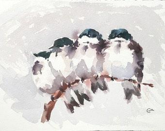 Snuggling Birds - Original Watercolor Painting 7 1/4 x 11 inches Cozy Winter Snow