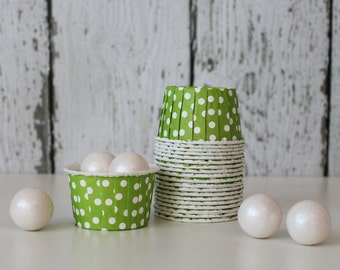 CANDY CUPS - Lime Green with White Dots - Set of 20 : The Paper Doll
