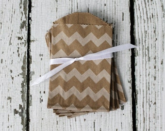 MINI KRAFT Favor Bags CHEVRON: Set of 20 - The Paper Doll