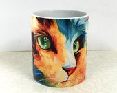 Cat Coffe Mug, Ceramic mugs, Tea mugs, Cat Mug, Unique mug, Home gift, New Year present
