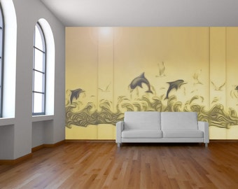 Original 3D Wall murals - painted, plaster reliefed or  sculpted  -