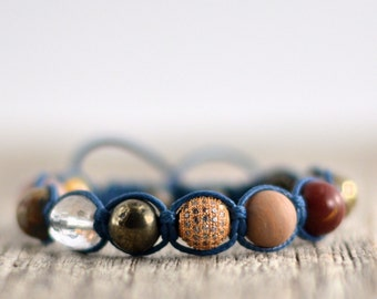 Shamballa bracelet. Large bead beaded bracelet. Stacking bracelet.