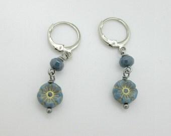 Tiny Blue Flower Dangle Earrings, Czech Glass Flower Earrings, Leverback Earrings