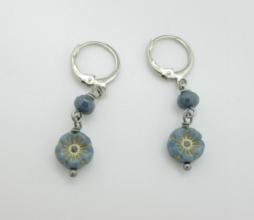 Tiny blue flower dangle earrings czech glass flower earrings for Gemsprouts tiny plant jewelry