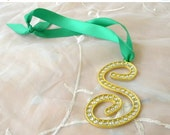 50% OFF SALE Monogram Rhinestone S, Christmas Ornament, Wreath or Garland Accent, Gold Tone with Clear Rhinestones with Green Satin Ribbon H