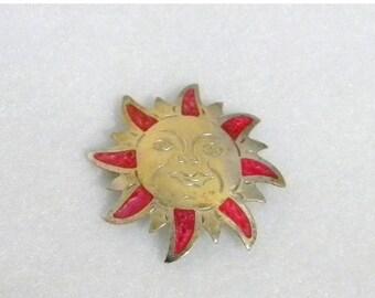 End of Summer Sale Southwestern Smiling Sun Brooch, Enamel Pink and Silver, Stamped Alpaca Mexico, Vintage Item, Alpaca Silver
