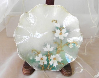 End of Summer Sale Beautiful Hand Painted Floral China Plate, White and Gold Cosmos Flowers Green and White Background, Scalloped Edges, Sha