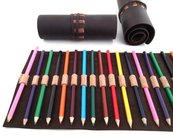 Large Leather Sketching Leather Pen Roll 22 Pencils Case