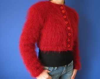 Made to order hand knitted  Red bolero shrug sweater size S-M