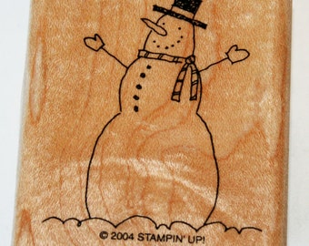 Happy Snowman with Hat and Scarf Rubber Stamp retired from Stampin Up