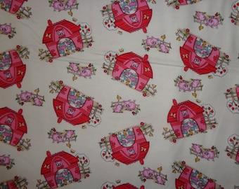 Tan Farm Animal/Red Barn Flannel Fabric by the Yard