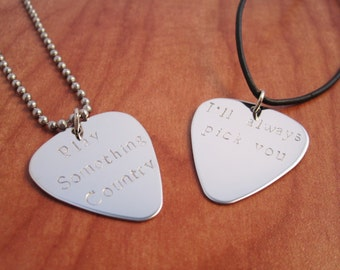 Personalized Guitar Pick Necklace, Hand Stamped Guitar Pick Necklace, Customized Guitar Pick Necklace - Guitar Pick Necklace