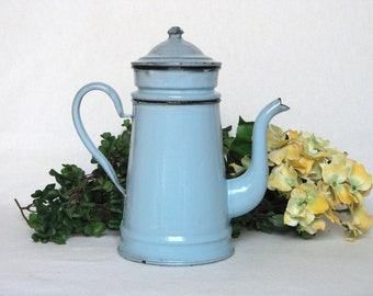 Vintage French 4-piece Coffee Biggin in pretty soft blue enameling