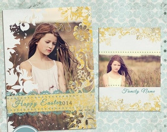 ON SALE INSTANT Download - Easter - Spring announcement ( Any announcement ) Photo Card- Photoshop Templates