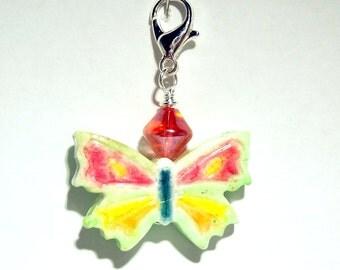 Butterfly Zipper Pull - Purse Charm - Handmade Polymer Clay Bead
