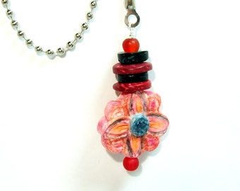 Fan or Light Pull for Ceiling Fan or Chain Pull for Lamp Handmade Reds with Blue Polymer Clay Flower