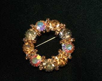 Vintage Aurora Borealis AB Circle Wreath Brooch