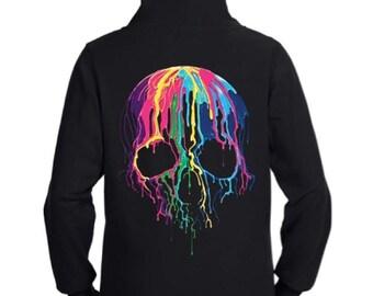 Colorful Dripping Skull Zip Up Hoodie Sweatshirt Black S M L XL Plus Size 1x 2x 3x 4x 5x