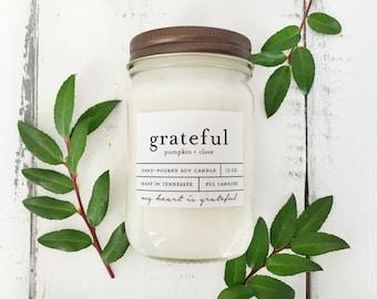 12 oz GRATEFUL (pumpkin + clove) hand poured soy wax jar candle