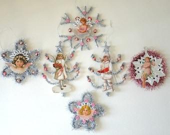 German Tinsel Christmas Ornament / Set Of Six German Die Cut Scrap Ornament