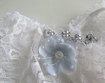 Something Blue Lace Garter, Wedding Garter, Lace Garter