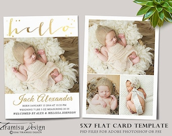 Birth Announcement  Template, Photography Photoshop 5x7 Card Template, sku ba16-3
