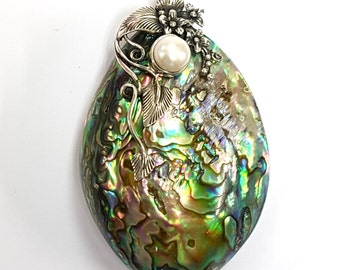 925 Sterling Silver Large Vibrant Art Nouveau Abalone paua shell and Pearl Floral Pendant
