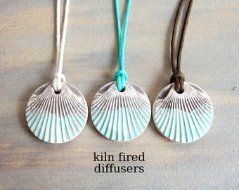 Beach Sea Shell Essential Oil Diffuser Necklace Handmade Aromatherapy White Unglazed Clay Pendant Kiln Fired Aroma Scent Diffusing Jewelry
