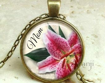 Pink Stargazer lily mom pendant, mom flower pendant, lily pendant, mom necklace, stargazer lily pendant, mom ily necklace, Pendant #PA198BR