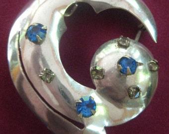 Vintage Signed Leo Glass Sterling Silver Modernist Brooch / Pendant