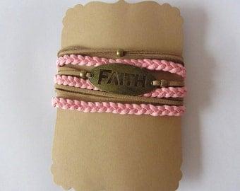 Faith ~ Tan & Pink Suede Cord Bracelet