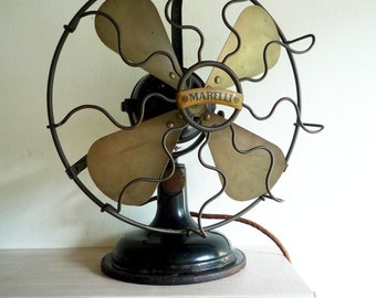 antique vintage italian electric desk fan Marelli 30's air cooler ventilator Mad Man