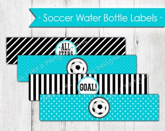 Teal Soccer Water Bottle Wrappers - Instant Download