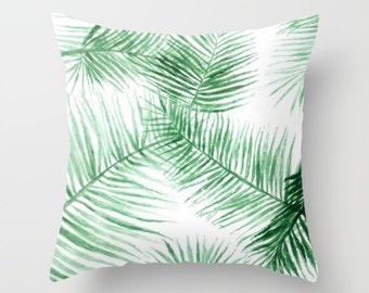 Palm Leaf Throw Pillow Cover, palm leaf pillow, tropical leaf pillow, leaf throw pillow, botanical pillow, palm leaves pillow