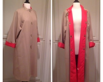 Classic overcoat / Vintage Voyager West All Weather Travel coat / Bold persimmon lining and brass twist buttons