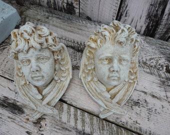 Distressed Cherub Angel Wing Head Shelf Putti Wall Sconce Pair Plaster