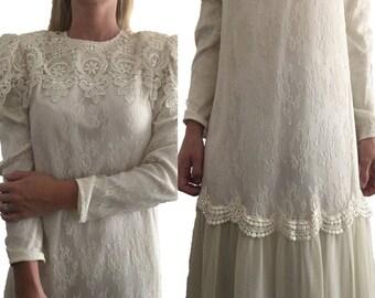 Vintage Wedding Dress/ Lace/Crochet/ Chiffon/ Formal Dress/ Wedding Dress/ Wedding Gown/ White Wedding Dress/ Dropped Waistline
