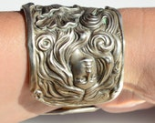 Antique Silverplated Goddess Maiden Floral Victorian Art Nouveau Wide Repousse Cuff Bracelet Wide Lady Face Glamorous Statement Spoon