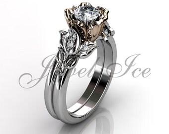 Engagement Ring Set - 14k White and Rose Gold Diamond Unique Flower Wedding Band Engagement Ring Set Bridal Set ER-1120-5